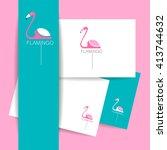 flamingo logo. identity... | Shutterstock .eps vector #413744632