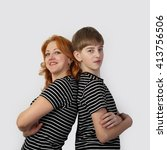 redhead woman and teenage boy... | Shutterstock . vector #413756506