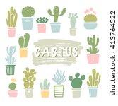 vector cactus silhouettes in... | Shutterstock .eps vector #413764522