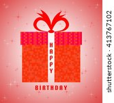 red birthday greeting with red... | Shutterstock .eps vector #413767102
