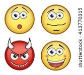 vector set of emoticons | Shutterstock .eps vector #413770315