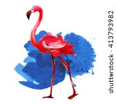flamingo.watercolor  vector  | Shutterstock .eps vector #413793982