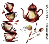 watercolor tea set | Shutterstock .eps vector #413794726