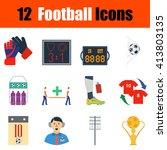 flat design football icon set...