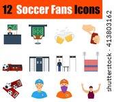 flat design football fans icon...