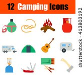 flat design camping icon set in ...