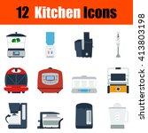 flat design kitchen icon set in ...