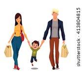 family buying  cartoon vector... | Shutterstock .eps vector #413804815