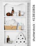bathroom set with towels ... | Shutterstock . vector #413810836