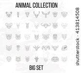 set of geometric animals head... | Shutterstock . vector #413814508