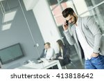 businessman with a phone in the ... | Shutterstock . vector #413818642