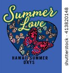 summer love  romantic heart and ...   Shutterstock .eps vector #413820148
