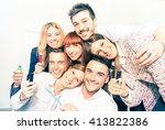 group of happy people employee... | Shutterstock . vector #413822386