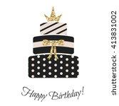 glam birthday cake for girls.... | Shutterstock .eps vector #413831002