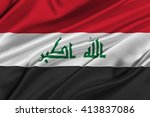 flag of iraq waving in the wind. | Shutterstock . vector #413837086