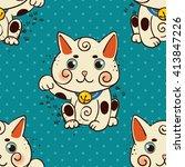happy japanese cat maneki neko... | Shutterstock .eps vector #413847226