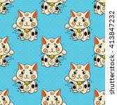 happy japanese cat maneki neko... | Shutterstock .eps vector #413847232