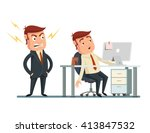 angry boss. vector flat cartoon ... | Shutterstock .eps vector #413847532