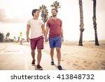 happy couple walking in santa... | Shutterstock . vector #413848732