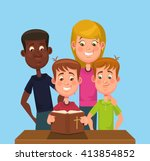 Children Read The Bible. Vecto...