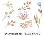 floral watercolor set. set of... | Shutterstock . vector #413857792