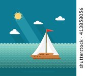 sailboat on the background of... | Shutterstock .eps vector #413858056