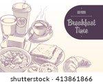 breakfast time illustration... | Shutterstock .eps vector #413861866