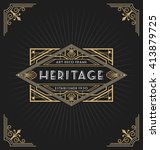 art deco frame and label design ... | Shutterstock .eps vector #413879725