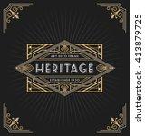 art deco frame and label design ... | Shutterstock .eps vector #413879725