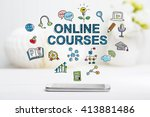 online courses concept with... | Shutterstock . vector #413881486