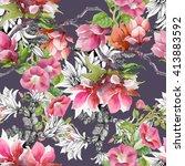 watercolor blooming  bind weed... | Shutterstock . vector #413883592