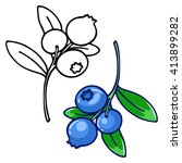 blueberries  contour drawing... | Shutterstock .eps vector #413899282