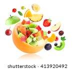 fresh fruit. fruit salad on... | Shutterstock . vector #413920492