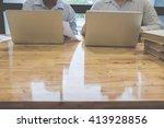 business team working on a new...   Shutterstock . vector #413928856