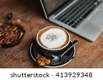 coffee cup on the table about... | Shutterstock . vector #413929348