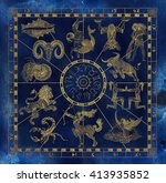 blue and gold collage set with... | Shutterstock . vector #413935852