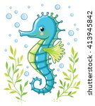 cute cartoon sea horse isolated.... | Shutterstock .eps vector #413945842