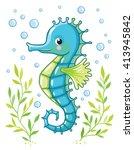 Cute Cartoon Sea Horse Isolate...