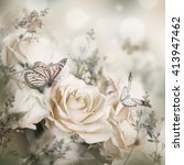 Stock photo beautiful roses and butterfly flower floral background 413947462