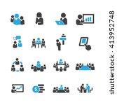 meeting icons vector | Shutterstock .eps vector #413952748