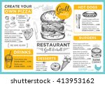 menu placemat food restaurant... | Shutterstock .eps vector #413953162