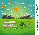 national mountain park camping... | Shutterstock .eps vector #413954635