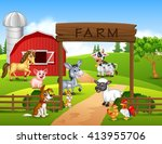 farm background with animals | Shutterstock .eps vector #413955706