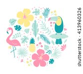 vector clip art set  tropical... | Shutterstock .eps vector #413960326
