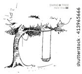 tree with swing hand drawn from ... | Shutterstock .eps vector #413965666