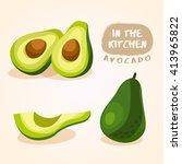 avocado   vegetable isolated... | Shutterstock .eps vector #413965822