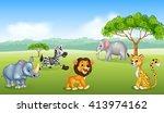 cartoon happy animal africa | Shutterstock . vector #413974162