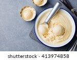 homemade vanilla  caramel ice...   Shutterstock . vector #413974858