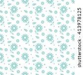 green seamless flower pattern | Shutterstock .eps vector #413978125