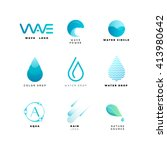 abstract water logo set. wave... | Shutterstock .eps vector #413980642